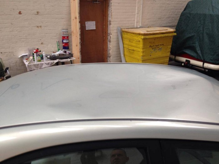 Car Silver Roof Dent Repair - Before